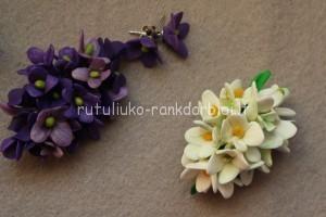 Gėlių žiedai - sagės ir auskarai